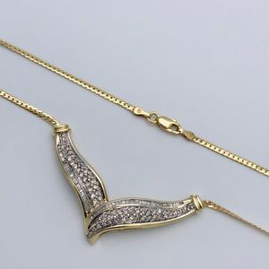 Jewelry - 14K Yellow Gold 1.75ct Diamond S-shaped Necklace
